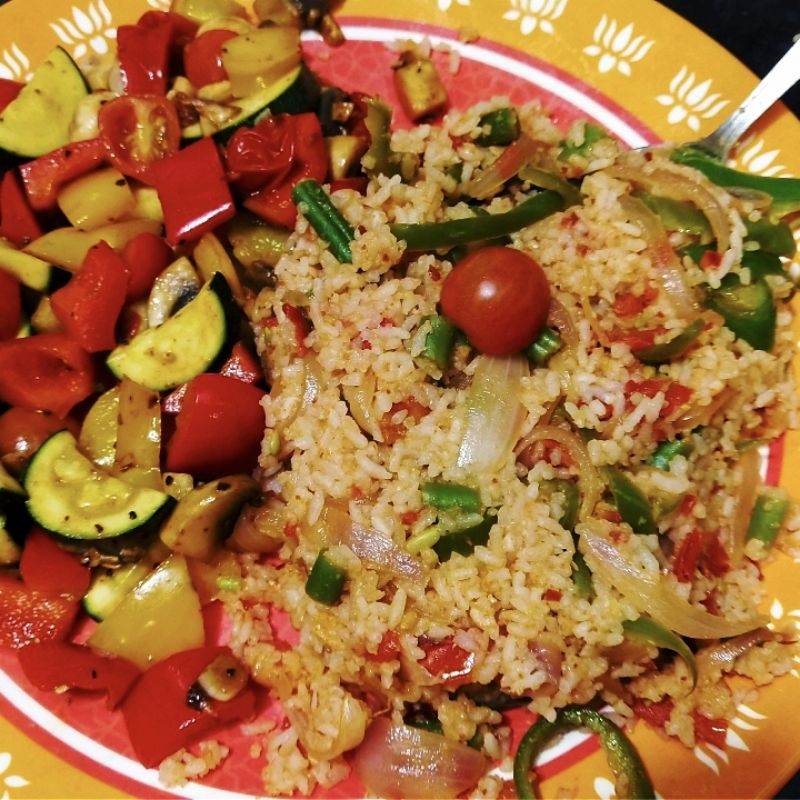 Mexican Fried Rice and Sauteed Vegetables